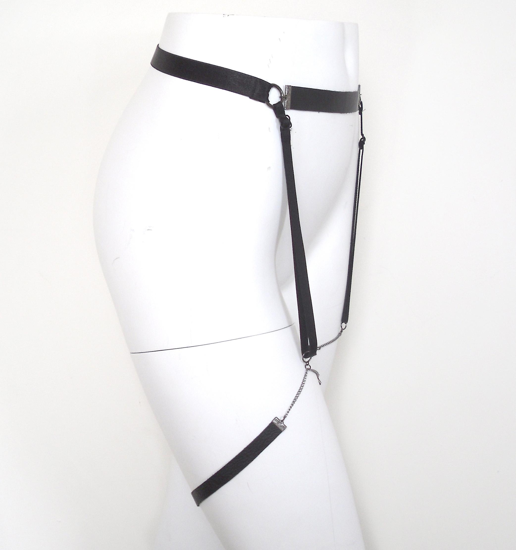 chain and leather garter belt lovelornlingerie